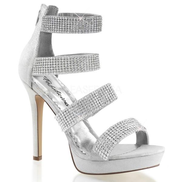 SALE! Fabulicious Damen High Heel Brautschuhe Sandalette Lumina-30 silber