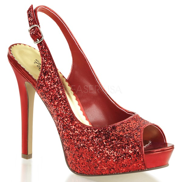 SALE! Fabulicious Damen Glitzer High Heel-Pumps Lumina-28G rot