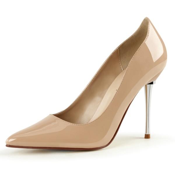PleaserUSA Damen Stiletto High Heel Pumps Appeal-20 Lack nude