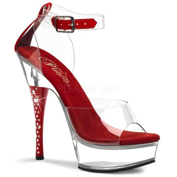 SALE! PleaserUSA Damen Gogo-Platform High Heels Diamond-642 rot