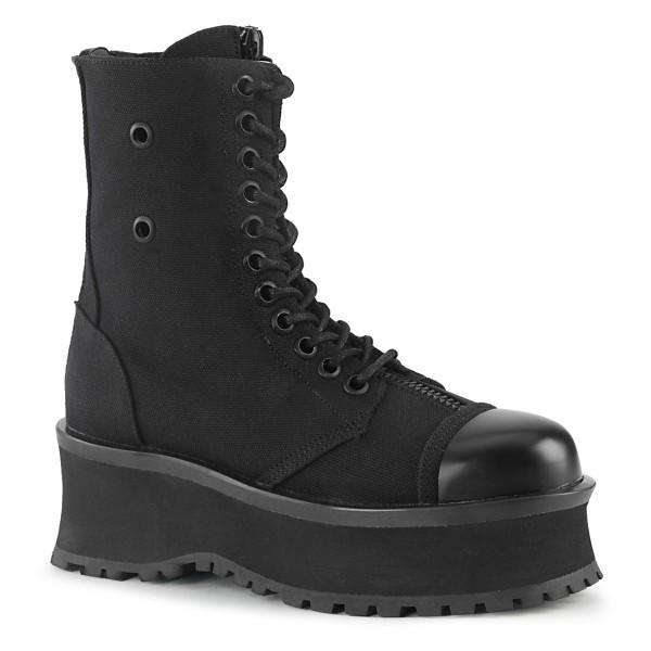 Demonia Herren Lace-Up Boots Schnür Stiefel Gravedigger-10 black canvas schwarz