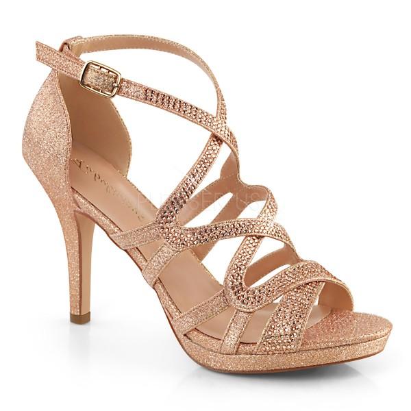 Fabulicious Damen Straß Riemchen Sandaletten Daphne-42 rose fabric