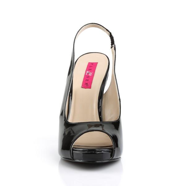 Pink Label Big Size Slingback Pumps Eve-04 Lack schwarz Übergröße