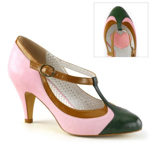 PinUp-Couture Burleske Damen T-Strap-Pumps Peach-03 babypink