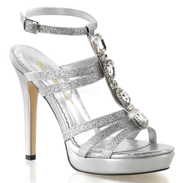 SALE! Fabulicious Damen High Heels Glitzer-Sandaletten Lumina-22 silber