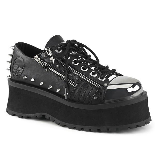 Demonia Herren Platform Oxford Schnürer Gravedigger-04 schwarz vegan leather