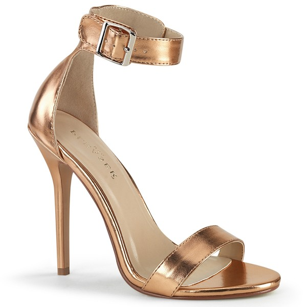 PleaserUSA Damen Riemchen Sandalen Amuse-10 Rose-gold metallic