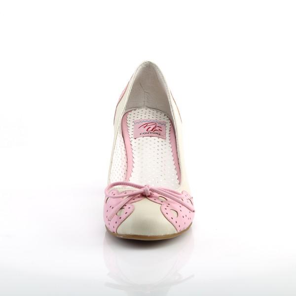 PinUp Couture Damen Pumps mit Herzchen Wiggle-17 creme-pink