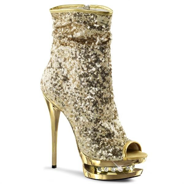 PleaserUSA Pailetten-Boots Blondie-R-1008 gold