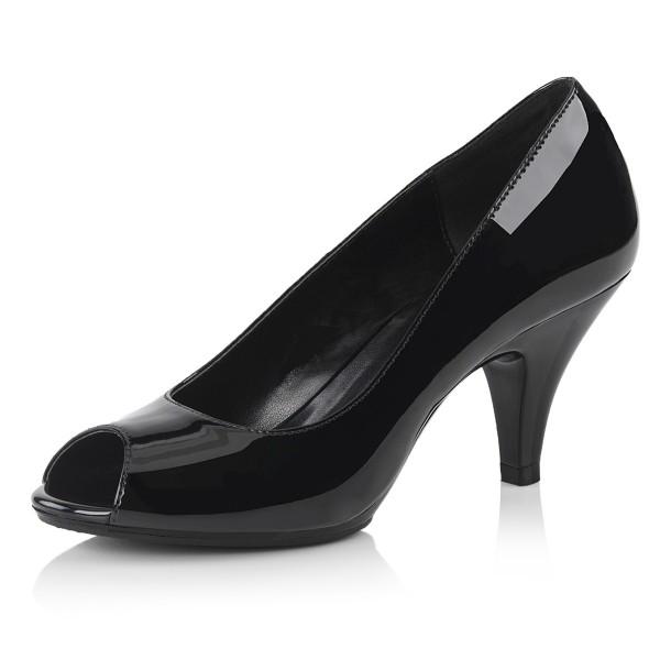 Fabulicious Damen Peep Toe Pumps Belle-362 Lack schwarz