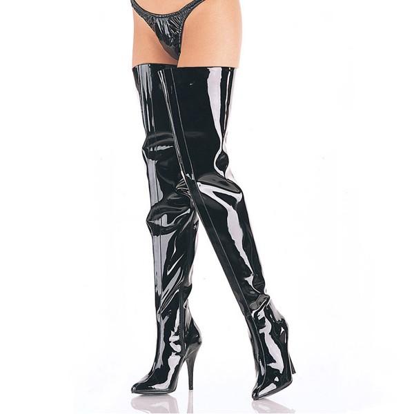 PleaserUSA extra lange Overknee-Stiefel Seduce-4010 Lack schwarz