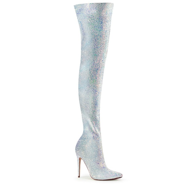 PleaserUSA Damen Overknee Stiefel Courtly-3015 Glitter weiß