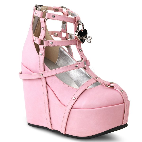 Demonia Damen Plateau Wedge Cage Booties Poison-25-2 pink