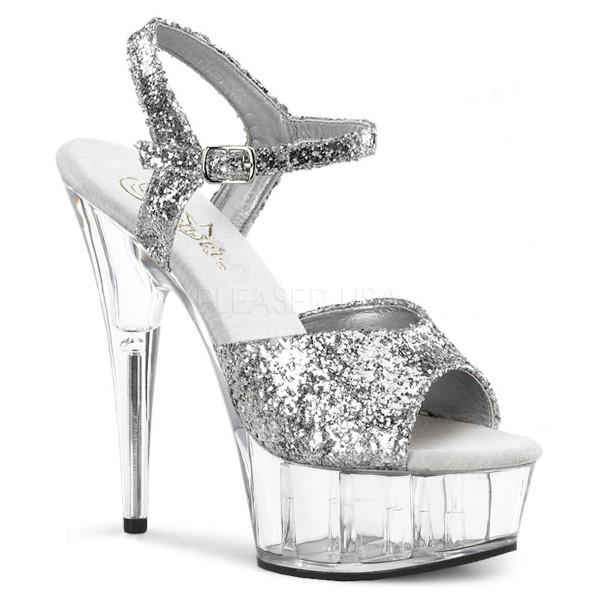 SALE! PleaserUSA Damen Gogo Plateau-Sandalette Delight-609 silber glitter/klar
