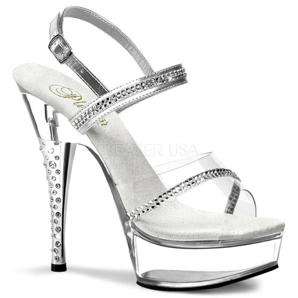 SALE! PleaserUSA Gogo-Platform High Heels Diamond-639 silber/klar
