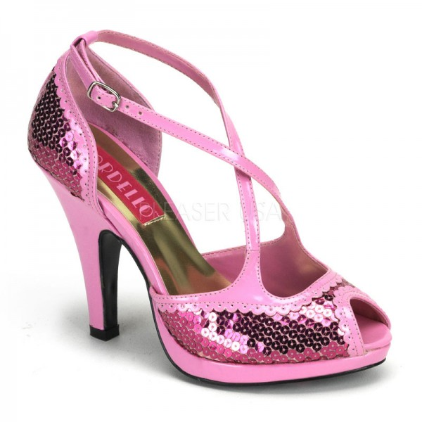SALE! Bordello Damen Pailletten-Pumps Siren-07SQ babypink