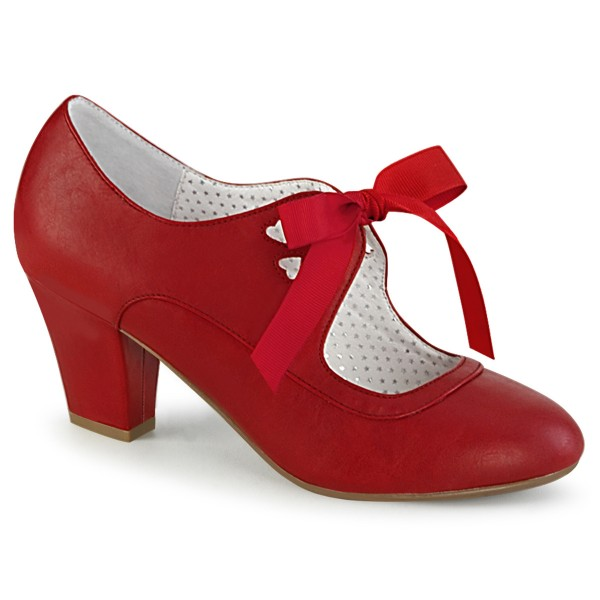 PinUp Couture Damen Mary Janes Pumps mit Schleife Wiggle-32 rot