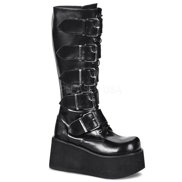 Demonia Goth Punk Knee Boots Trashville-518 mattschwarz