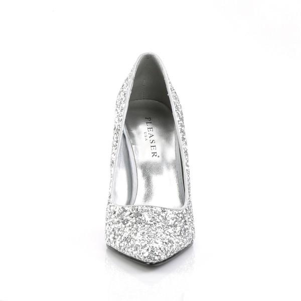 PleaserUSA Damen Stiletto High Heel Pumps Appeal-20G Glitter silber