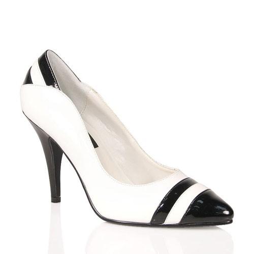 PleaserUSA High-Heel Pumps Vanity-428 Lack schwarz/weiß