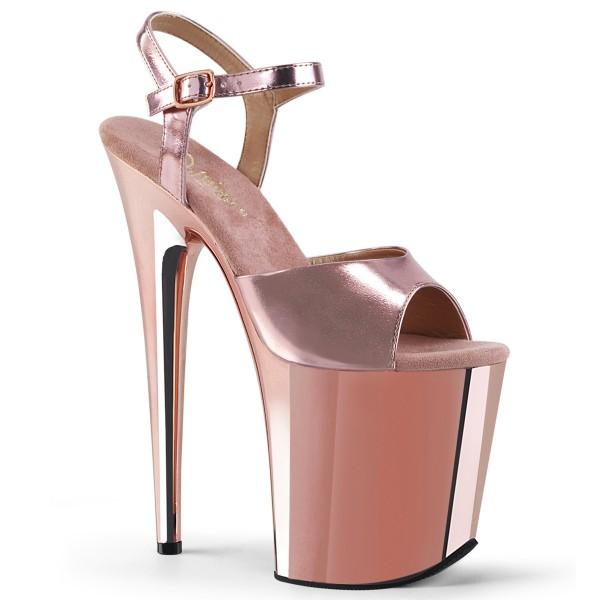 SALE! PleaserUSA Damen Gogo High Heel Sandalen Flamingo-809 Rose-Gold Gr. 40