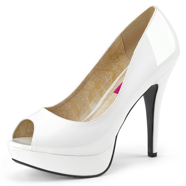 Pink Label Oversize Plateau Pumps Peep Toe Chloe-01 Lack weiß Übergröße