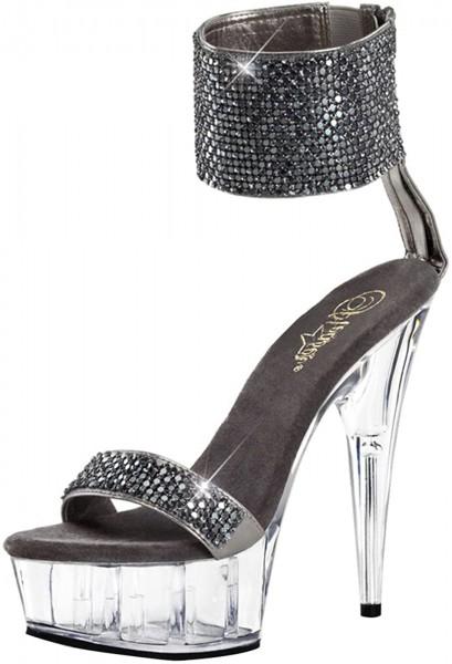SALE! PleaserUSA Damen Gogo Glamour Heels Delight-671 zinngrau blush Gr. 40