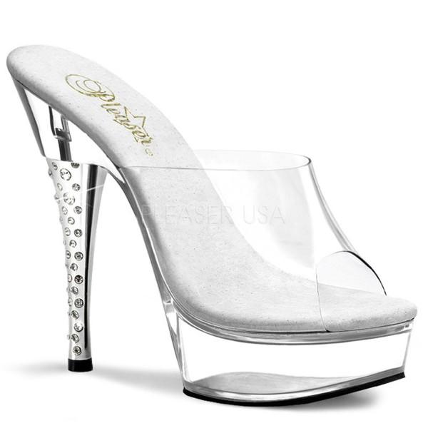 SALE! PleaserUSA Damen Gogo-Platform High Heels Diamond-601 klar/klar Gr. 40