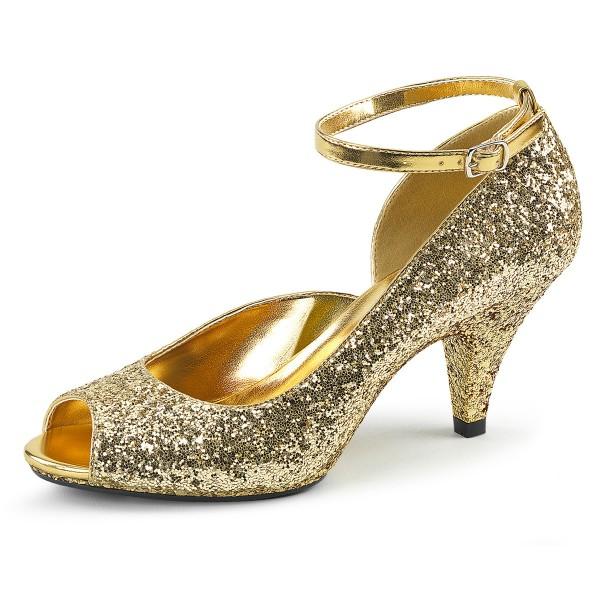 Fabulicious Damen PeepToe Glitzer Pumps Belle-381G Glitter gold
