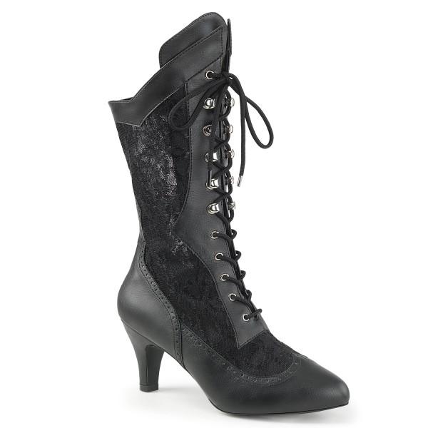 Pink Label Stiefel Divine-1050 mit Spitze schwarz Übergrößen Plus Size