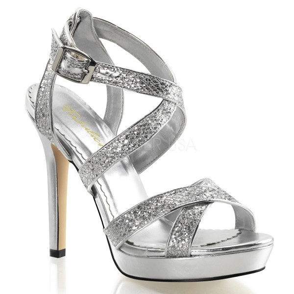 SALE! Fabulicious Damen High Heel-Sandaletten Lumina-21 silber glitter