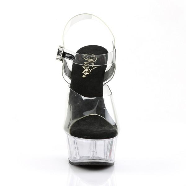 PleaserUSA Damen Plateau-Pantolette Delight-608 klar-schwarz/klar