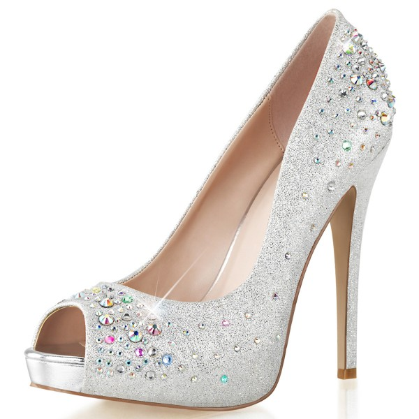 Fabulicious OpenToe Strass-Pumps Heiress-22R silber