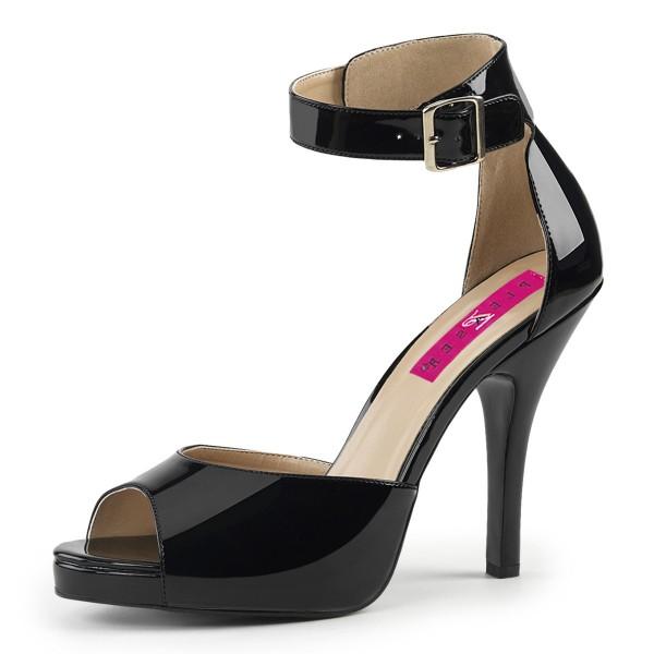 Pink Label Big Size Sandalen Sandaletten Eve-02 Lack schwarz Übergröße