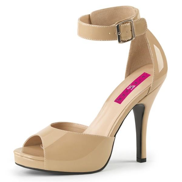 Pink Label Big Size Sandalen Sandaletten Eve-02 Lack creme Übergröße