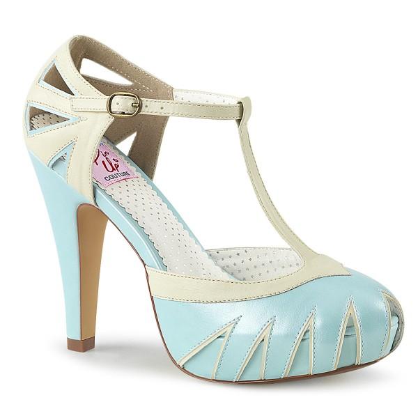 SALE! PinUp Couture Damen T-Spange Plateau Pumps Bettie-25 babyblau Gr.38
