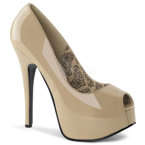 SALE! Bordello Damen Plateau-Pumps Teeze-22 Lack creme Gr. 39