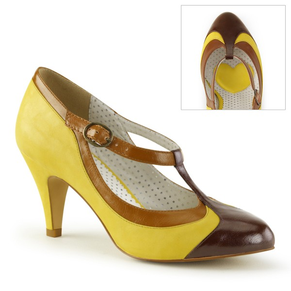 PinUp-Couture Burleske Damen T-Strap-Pumps Peach-03 gelb