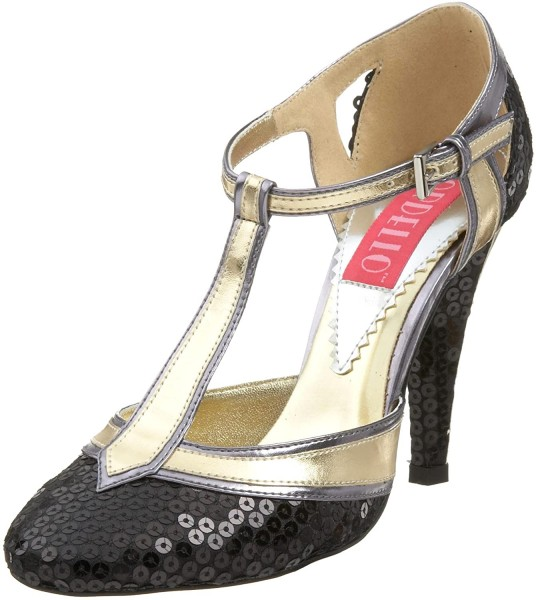 SALE! Bordello Damen T-Spangen Pailetten Schuhe Cabaret-01SQ schwarz/gold