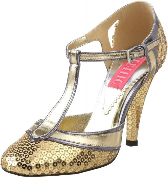 SALE! Bordello Damen T-Spangen Pailetten Schuhe Cabaret-01SQ gold/silber