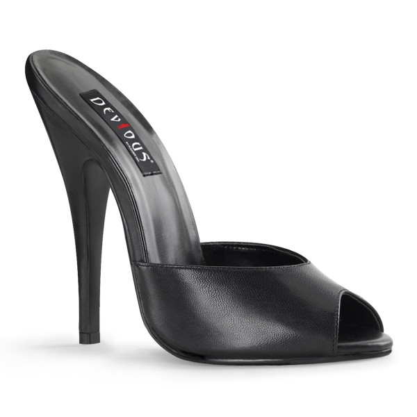 Devious High Heel-Pantoletten Domina-101 Leder schwarz