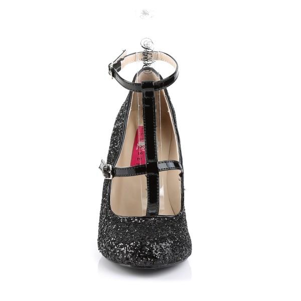 Pink Label Big Size Glitter High Heels Pumps Queen-01 mit T-Spange schwarz