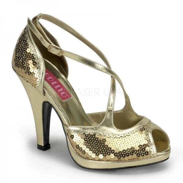 SALE! Bordello Damen Pailletten-Pumps Siren-07SQ gold