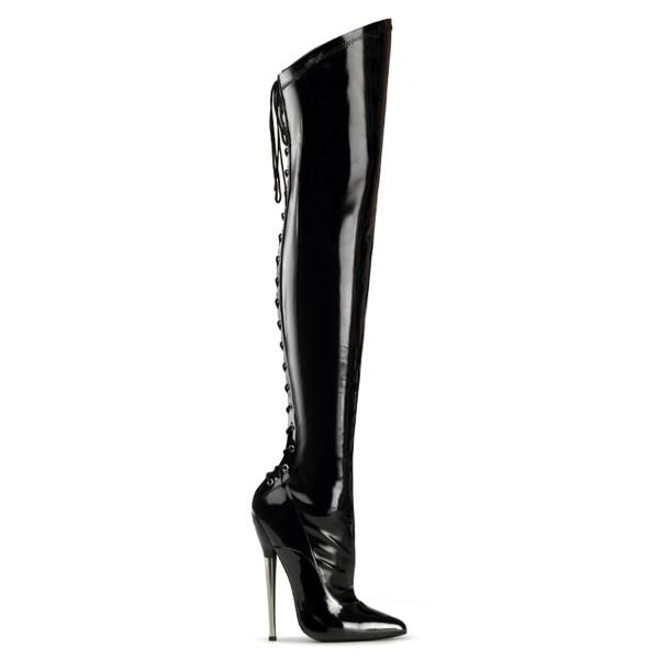 Devious High Heels Overkneestiefel Dagger-3060 Lack schwarz