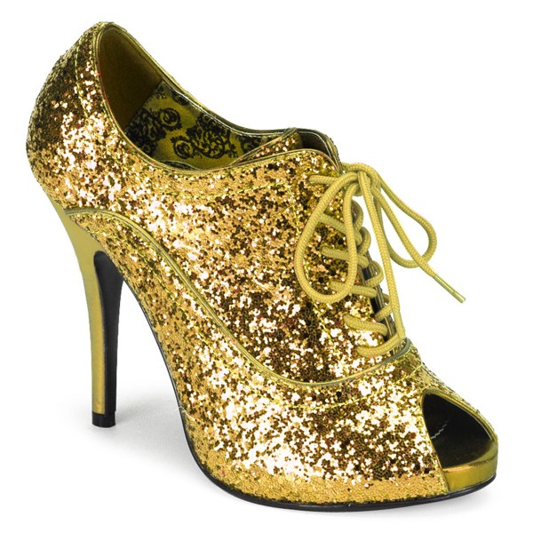 SALE! Bordello Damen Glitzer-Schnürpumps Wink-01G Glitter gold Gr. 36