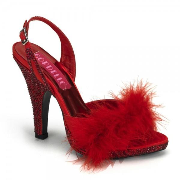 SALE! Bordello Damen High Heel Puschel-Pantoletten Siren-04 Straß rot