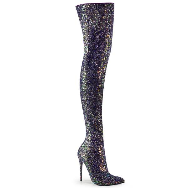 PleaserUSA Damen Overknee Stiefel Courtly-3015 Glitter schwarz