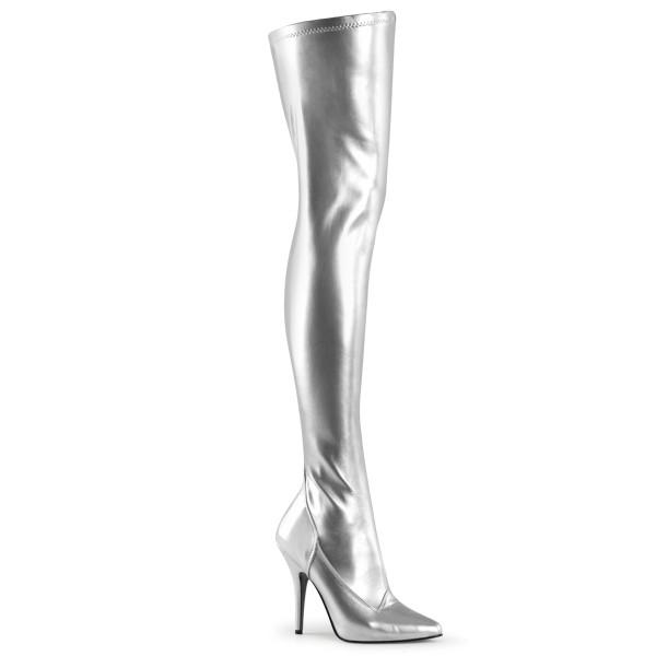 PleaserUSA Damen High Heels-Overkneestiefel Seduce-3000 silber stretch