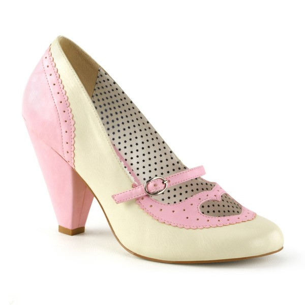 SALE! PinUp-Couture Damen Cone Heel Mary Janes Poppy-18 babypink
