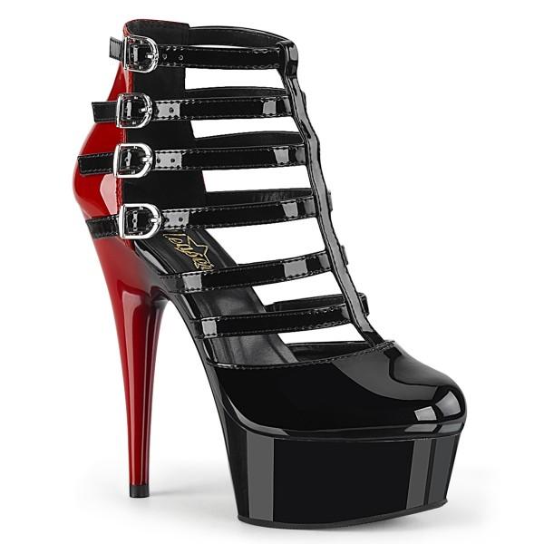 PleaserUSA Damen Gogo Riemchen High Heels Delight-695 schwarz/rot